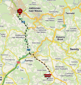 penzion recall - vesec - trasa mapa kopie